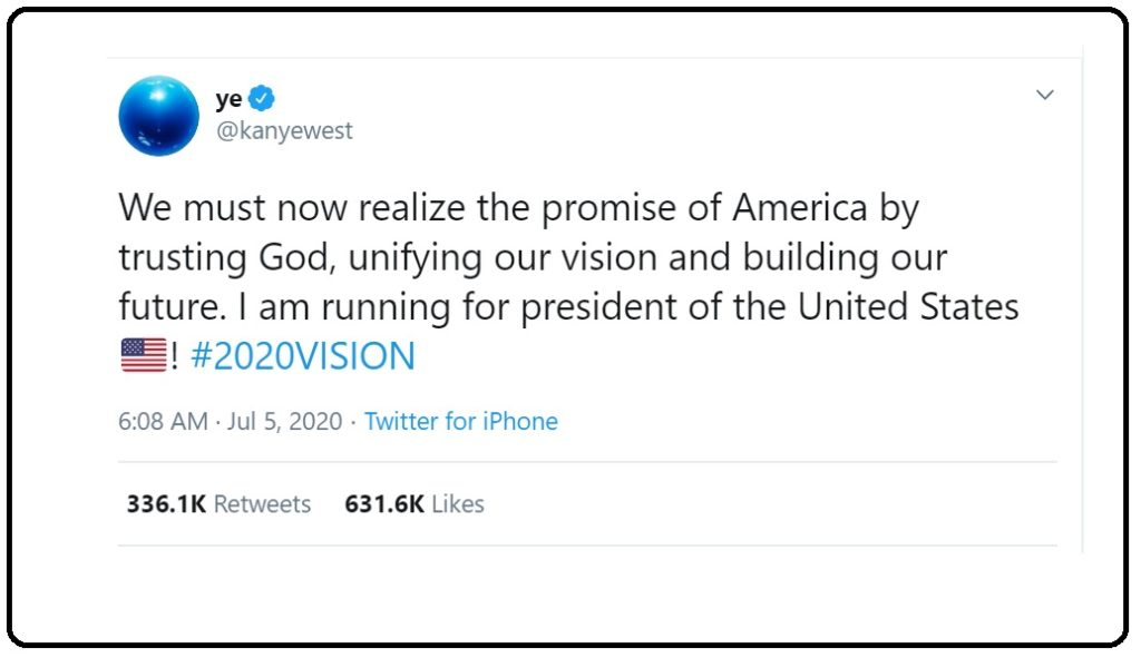 Kanye West 2020: announcement